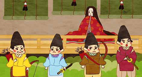 The bamboo cutter did not want Kaguya Hime to leave. He asked samurais to protect her from the moon people.