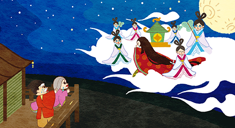 Kaguya Hime liked the bamboo cutter and the people from the world so much. But Kaguya Hime belonged to the moon. She sometimes comes back to the world when it is the full moon.