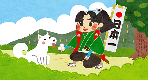 On the way another fighter, a dog joined him because Momotaro gave them dumplings.